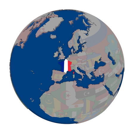 francaise: France with embedded national flag on political globe. 3D illustration isolated on white background.