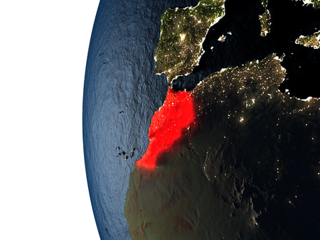 Morocco highlighted in red on Earth as seen from Earths orbit in space during sunset. 3D illustration with highly detailed realistic planet surface. Stock Photo
