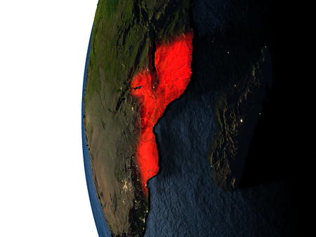 Mozambique highlighted in red on Earth as seen from Earths orbit in space during sunset. 3D illustration with highly detailed realistic planet surface.