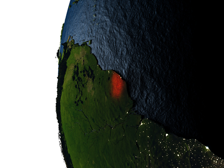 French Guiana highlighted in red on Earth as seen from Earths orbit in space during sunset. 3D illustration with highly detailed realistic planet surface.