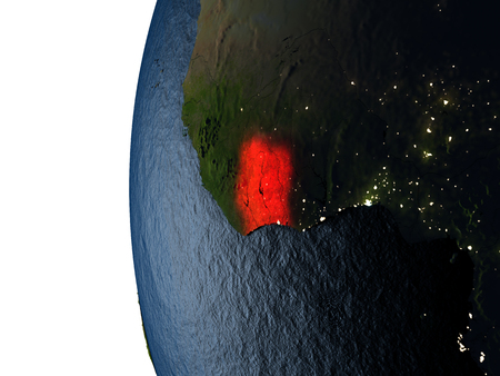 Ivory Coast highlighted in red on Earth as seen from Earths orbit in space during sunset. 3D illustration with highly detailed realistic planet surface.