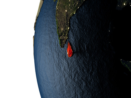 Sri Lanka highlighted in red on Earth as seen from Earths orbit in space during sunset. 3D illustration with highly detailed realistic planet surface.