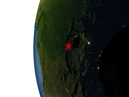 Rwanda highlighted in red on Earth as seen from Earths orbit in space during sunset. 3D illustration with highly detailed realistic planet surface. Stock Photo