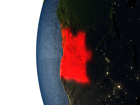 Angola highlighted in red on Earth as seen from Earths orbit in space during sunset. 3D illustration with highly detailed realistic planet surface. Stock Photo