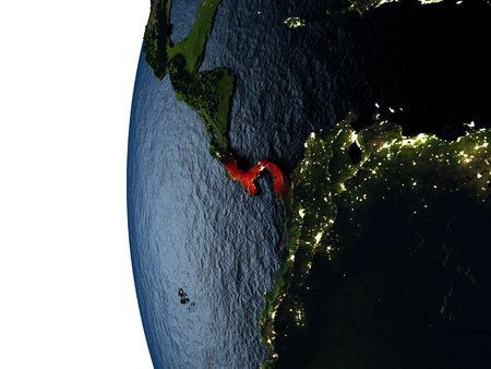 Panama highlighted in red on Earth as seen from Earths orbit in space during sunset. 3D illustration with highly detailed realistic planet surface.