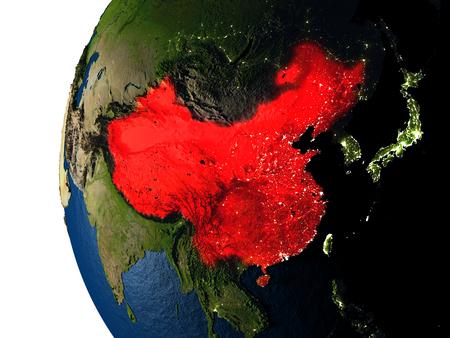 중국은 일몰 동안 우주에서 지구의 궤도에서 보듯이 지구상에 붉은 색으로 강조했다. 매우 상세한 현실적인 행성 표면 가진 3D 그림입니다. 스톡 콘텐츠
