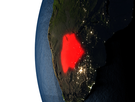 Botswana highlighted in red on Earth as seen from Earths orbit in space during sunset. 3D illustration with highly detailed realistic planet surface.