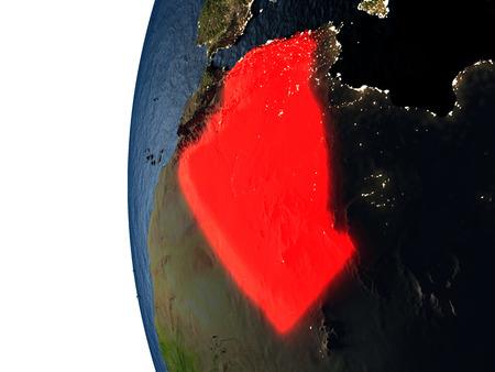알제리는 일몰 동안 우주의 지구의 궤도에서 보듯이 지구상에서 빨간색으로 강조 표시됩니다. 매우 상세한 현실적인 행성 표면 가진 3D 그림입니다.