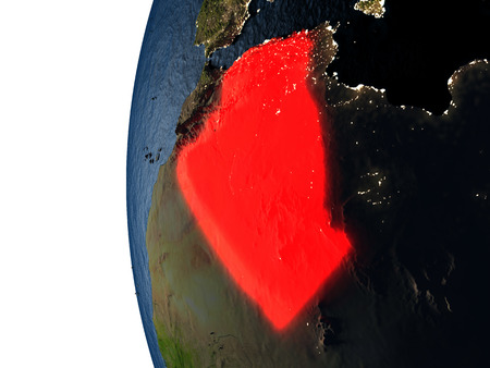 Algeria highlighted in red on Earth as seen from Earths orbit in space during sunset. 3D illustration with highly detailed realistic planet surface. Stock Photo