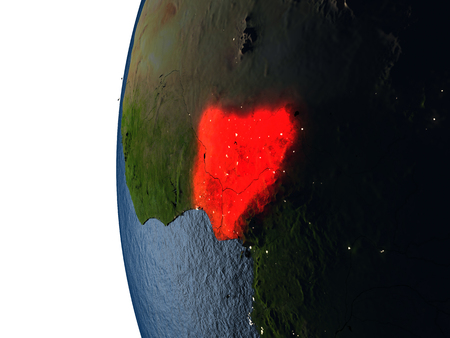 Nigeria highlighted in red on Earth as seen from Earths orbit in space during sunset. 3D illustration with highly detailed realistic planet surface. Stock Photo