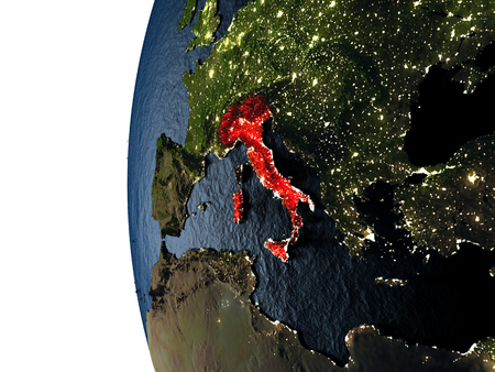 Italy highlighted in red on Earth as seen from Earths orbit in space during sunset. 3D illustration with highly detailed realistic planet surface. Stock Photo