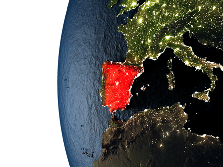 Spain highlighted in red on Earth as seen from Earths orbit in space during sunset. 3D illustration with highly detailed realistic planet surface.