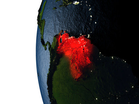 Venezuela highlighted in red on Earth as seen from Earths orbit in space during sunset. 3D illustration with highly detailed realistic planet surface.