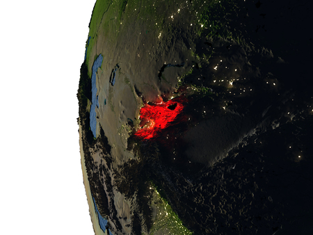 Kyrgyzstan highlighted in red on Earth as seen from Earths orbit in space during sunset. 3D illustration with highly detailed realistic planet surface. Stock Photo