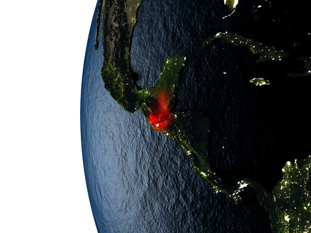 Guatemala highlighted in red on Earth as seen from Earths orbit in space during sunset. 3D illustration with highly detailed realistic planet surface. Stock Photo