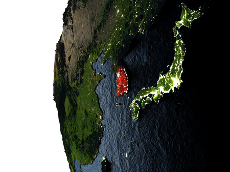 South Korea highlighted in red on Earth as seen from Earths orbit in space during sunset. 3D illustration with highly detailed realistic planet surface. Stock Photo