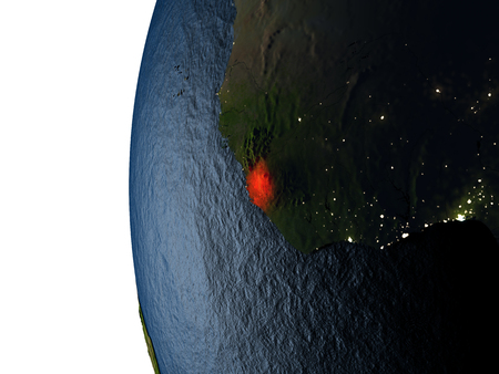 Sierra Leone highlighted in red on Earth as seen from Earths orbit in space during sunset. 3D illustration with highly detailed realistic planet surface.