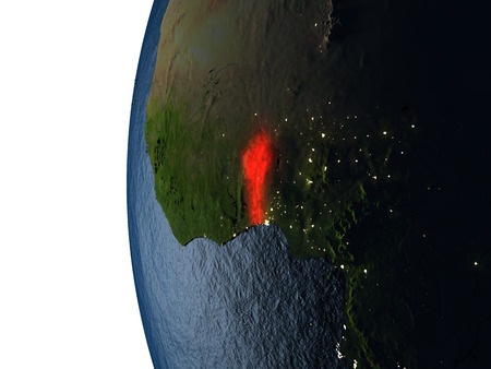 Benin highlighted in red on Earth as seen from Earths orbit in space during sunset. 3D illustration with highly detailed realistic planet surface.