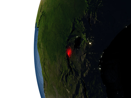 Burundi highlighted in red on Earth as seen from Earths orbit in space during sunset. 3D illustration with highly detailed realistic planet surface.