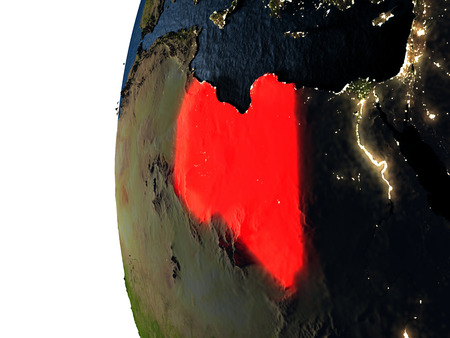 Libya highlighted in red on Earth as seen from Earths orbit in space during sunset. 3D illustration with highly detailed realistic planet surface.