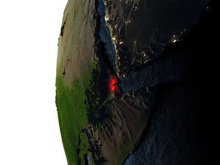Djibouti highlighted in red on Earth as seen from Earths orbit in space during sunset. 3D illustration with highly detailed realistic planet surface.