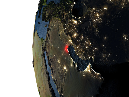Kuwait highlighted in red on Earth as seen from Earths orbit in space during sunset. 3D illustration with highly detailed realistic planet surface. Stock Photo