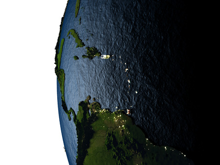Caribbean highlighted in red on Earth as seen from Earths orbit in space during sunset. 3D illustration with highly detailed realistic planet surface. Stock Photo