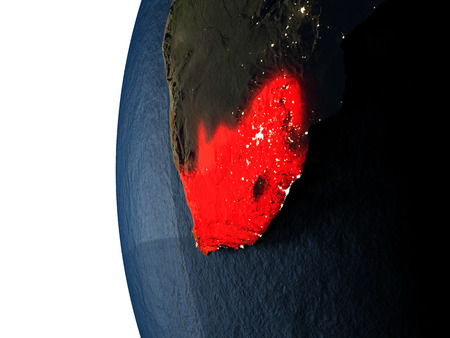 South Africa highlighted in red on Earth as seen from Earths orbit in space during sunset. 3D illustration with highly detailed realistic planet surface.