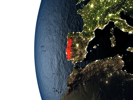 Portugal highlighted in red on Earth as seen from Earths orbit in space during sunset. 3D illustration with highly detailed realistic planet surface.