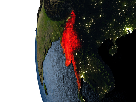 Myanmar highlighted in red on Earth as seen from Earths orbit in space during sunset. 3D illustration with highly detailed realistic planet surface.