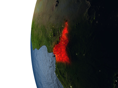 cameroonian: Cameroon highlighted in red on Earth as seen from Earths orbit in space during sunset. 3D illustration with highly detailed realistic planet surface.