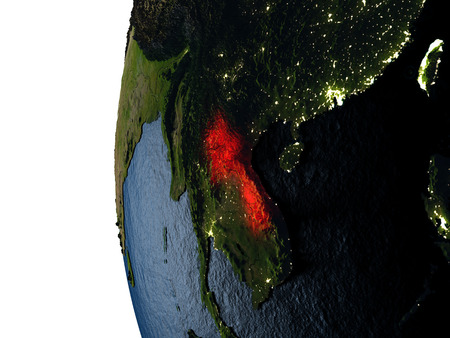 라오스 일몰 동안 공간에서 지구의 궤도에서 본 지구에 빨간색으로 강조 표시합니다. 매우 상세한 현실적인 행성 표면 가진 3D 그림입니다.