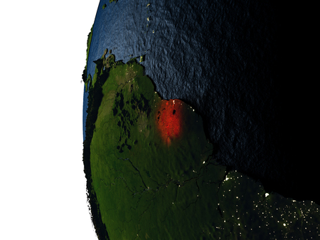 Suriname highlighted in red on Earth as seen from Earths orbit in space during sunset. 3D illustration with highly detailed realistic planet surface.