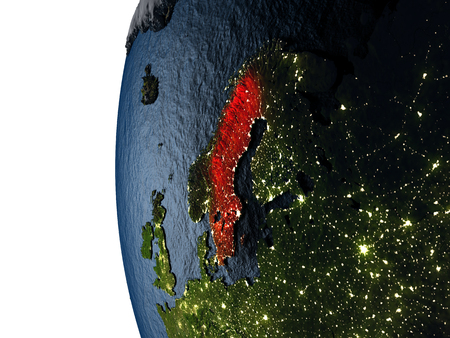 sverige: Sweden highlighted in red on Earth as seen from Earths orbit in space during sunset. 3D illustration with highly detailed realistic planet surface.