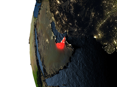 United Arab Emirates highlighted in red on Earth as seen from Earths orbit in space during sunset. 3D illustration with highly detailed realistic planet surface.