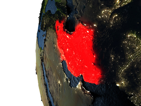 Iran highlighted in red on Earth as seen from Earths orbit in space during sunset. 3D illustration with highly detailed realistic planet surface. Stock Photo