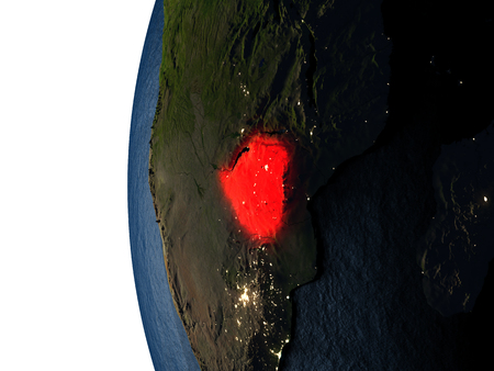 Zimbabwe highlighted in red on Earth as seen from Earths orbit in space during sunset. 3D illustration with highly detailed realistic planet surface.