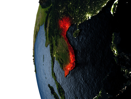 Vietnam highlighted in red on Earth as seen from Earths orbit in space during sunset. 3D illustration with highly detailed realistic planet surface.