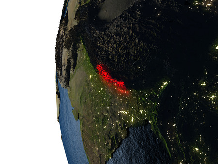 Nepal highlighted in red on Earth as seen from Earths orbit in space during sunset. 3D illustration with highly detailed realistic planet surface. Stock Photo