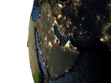 Qatar highlighted in red on Earth as seen from Earths orbit in space during sunset. 3D illustration with highly detailed realistic planet surface.