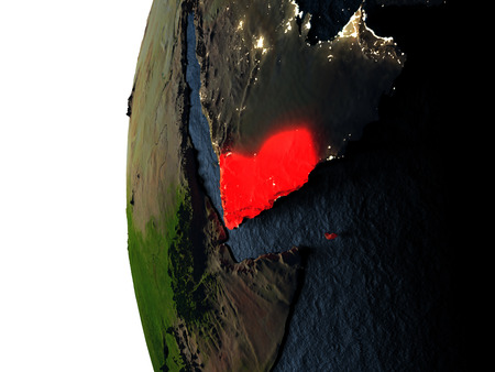 Yemen highlighted in red on Earth as seen from Earths orbit in space during sunset. 3D illustration with highly detailed realistic planet surface.