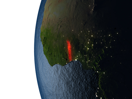 Togo highlighted in red on Earth as seen from Earths orbit in space during sunset. 3D illustration with highly detailed realistic planet surface.