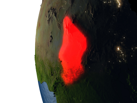 Chad highlighted in red on Earth as seen from Earths orbit in space during sunset. 3D illustration with highly detailed realistic planet surface. Stock Photo