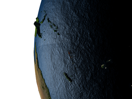 Vanuatu highlighted in red on Earth as seen from Earths orbit in space during sunset. 3D illustration with highly detailed realistic planet surface.