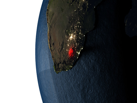Lesotho highlighted in red on Earth as seen from Earths orbit in space during sunset. 3D illustration with highly detailed realistic planet surface.