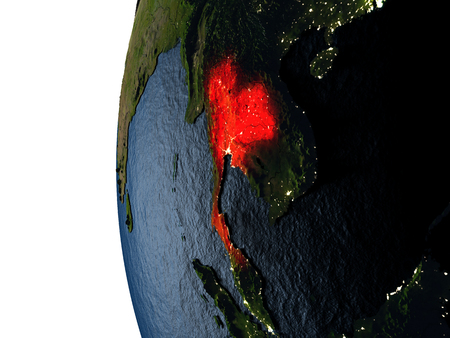 Thailand highlighted in red on Earth as seen from Earths orbit in space during sunset. 3D illustration with highly detailed realistic planet surface. Stock Photo