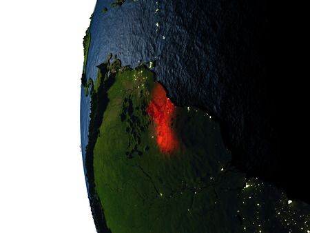 Guyana highlighted in red on Earth as seen from Earths orbit in space during sunset. 3D illustration with highly detailed realistic planet surface. Stock Photo