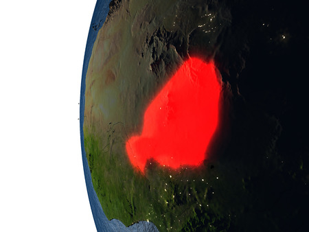 Niger highlighted in red on Earth as seen from Earths orbit in space during sunset. 3D illustration with highly detailed realistic planet surface.