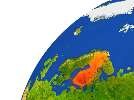 suomi: Finland highlighted in red as seen from Earths orbit in space. 3D illustration with highly detailed realistic planet surface.