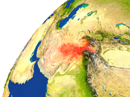 afghan: Afghanistan highlighted in red as seen from Earths orbit in space. 3D illustration with highly detailed realistic planet surface.